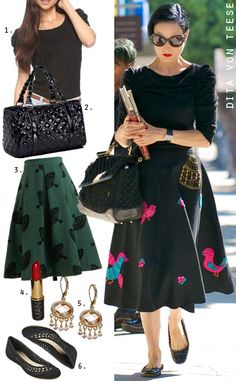 Dress by Number: Dita Von Teese's Midi Skirt and Scalloped Flats - The Budget Babe