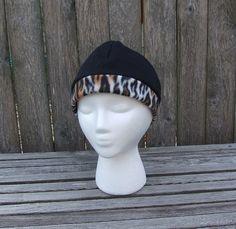 Fleece Hat  21 beanie  black with cheetah trim by SkinnyBugStudio