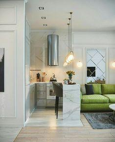 Condo Decorating, Small Apartment Decorating, Small Apartment Interior, Apartment Design, Small Apartments, Small Spaces, Simple Living Room Decor, Building A Kitchen, Contemporary Home Decor