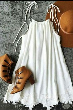 It's time to wake up and start your day with the Glamorous Sunrise and Shine Ivory Embroidered Swing Dress! Love this outfit!Although the shoe/bootie is too heavy for this dress, I LOVE the Ivory Embroidered Swing Dress!White tank with lace detail, b Cute Dresses, Casual Dresses, Summer Dresses, Dresses Dresses, Casual Outfits, Cheap Dresses, Fashion Dresses, Wedding Dresses, Fashion Clothes