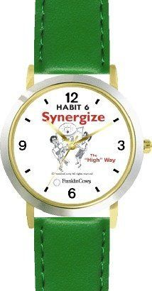 Habit 6 - Synergize (English Text) - DELUXE TWO-TONE WATCH from THE 7 HABITS - WATCH COLLECTION BY WATCHBUDDY® - Arabic Numbers - Green Leather Strap-Size-Children's Size-Small ( Boy's Size & Girl's Size ) WatchBuddy. $49.95. Save 38%!