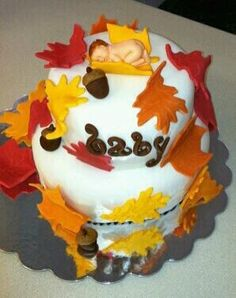 Fall themed baby shower cake by Bri83 on Cake Central