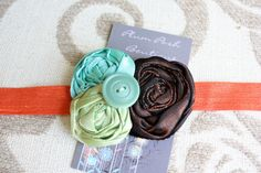 Fall Rosette Headband in Lime Green Blue Turquoise and by PlumPosh, $19.50