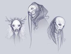 Fish People by ZombieLady on DeviantArt Alien Concept Art, Creature Concept Art, Creature Design, Alien Creatures, Fantasy Creatures, Mythical Creatures, Character Concept, Character Art, Alien Fish