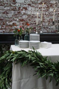 Garland Wedding, Wedding Flowers, Wedding Decorations, Table Decorations, Table Garland, Leaf Garland, Wedding Table, Wedding Reception, Our Wedding