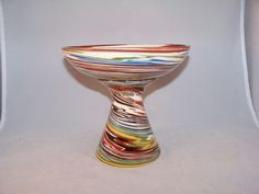 Desert Sands Studio Pottery Footed Compote Bright Colors Lovely