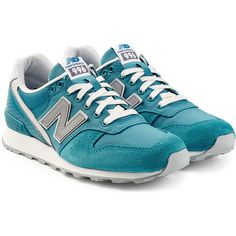 New Balance Suede, Leather and Mesh Sneakers (£48) ❤ liked on Polyvore featuring shoes, sneakers, turquoise, perforated suede sneakers, new balance sneakers, perforated leather shoes, round cap and suede leather shoes