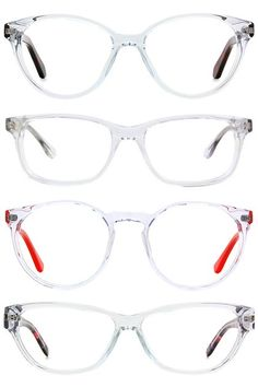 Ironically enough, transparent frames can be some of the most statement-making styles, so you might not want to opt for this trend if you're not comfortable with being noticed. As far as coloring, they work best on medium- to dark-skinned faces, but fair ladies shouldn't feel left out you can try a slightly tinted version so you don't get washed out. The best part? You never have to worry about these versatile gems not going with an outfit clear matches with everything! From top: Rivet…