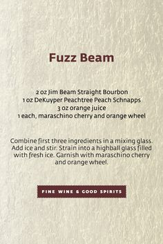 The Fuzzy Navel is all grown up. We've added bourbon and trus us; the Fuzz Bean is DELISH! Fuzzy Navel, Bourbon Drinks, Fall Cocktails, Jim Beam, All Grown Up, Beams, Delish, Exposed Beams