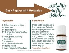 Vitality in the Kitchen recipe card for Easy Peppermint Brownies featuring Young Living's Peppermint Vitality essential oil.