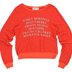 """RARE! Wildfox early mornings cider two in bed red Super hard to find Wildfox jumper sweatshirt! Front says """" early mornings rosy cheeks frosty nights hot cider two to a blanket mistletoe kisses"""" so freaking adorable and soooo soft Wildfox Tops Sweatshirts & Hoodies"""