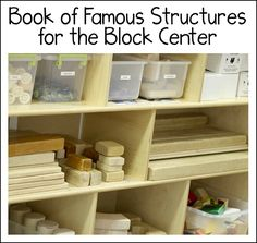Create a book of structures for the block center, whether in kindergarten, preschool, or at home. Perfect for exploring STEM concepts and inspiring children as they create and build in the block center. Includes a link to a free printable. Block Center Preschool, Preschool Centers, Learning Centers, Preschool Rooms, Preschool Learning Activities, Preschool Ideas, Toddler Activities, Teaching Resources, Teaching Ideas