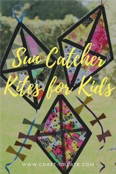 Tissue Paper Sun Catcher Kites Sun Crafts, Craft Activities For Kids, Summer Crafts, Toddler Crafts, Preschool Crafts, Diy Crafts For Kids, Easy Crafts, Crafts Cheap, Children Crafts