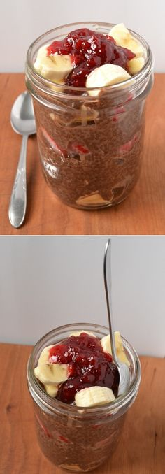 Chocolate Chia Seed Banana Split Parfait - Healthy Chia Seed Recipes. I love this but I have to be careful when I eat it - the Chia puts me to sleep - I leave off the jam and just add another strawberry.