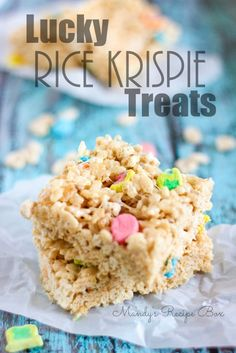 I created these yummy Lucky Rice Krispie Treats with my kids in mind. They love the marshmallows in the Lucky Charms cereal and usually try to pick those out when they have a bowl.