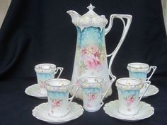 UM RS Prussia Chocolate Pot and Cups/Saucers    NICE !!!!!