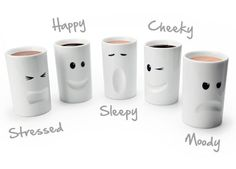 Mood Mugs™ | Double wall insulated novelty mugs. Gotta get these! All of them. lol.