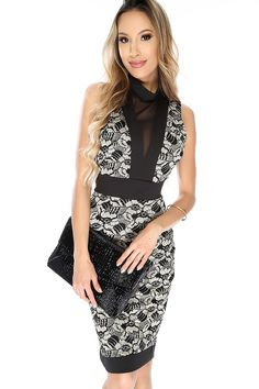Rock this dress for a night out at the club with the girls! Featuring; sleeveless, two tone, mesh cut outs, mock neck, embroidered crochet, back cut out, back button closure. Followed by a fitted wear.58% Nylon 40% Polyeter 2% Spandex