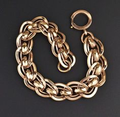 Vintage Rosy Rolled Gold Watch Chain Bracelet  #Rolled #Edwardian #Antique #Rose #intage #Bracelet #Watch #Gold #Chain #Vintage