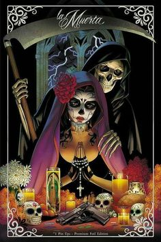 La Muerta: Pin Ups - Premium Foil Edition-Interiors: Various (pin up art book)Cover: Matt Merhoff Feast your eyes on imagery drawn from the lush, dark side of Chicano Culture: Day of The Dead, Sugar Skulls, Calavera, Santa Muerte - all served up b Lettrage Chicano, Chicano Tattoos, Arte Lowrider, Aztecas Art, Day Of The Dead Artwork, Tattoos Realistic, Azteca Tattoo, Catrina Tattoo, Graffiti Tattoo