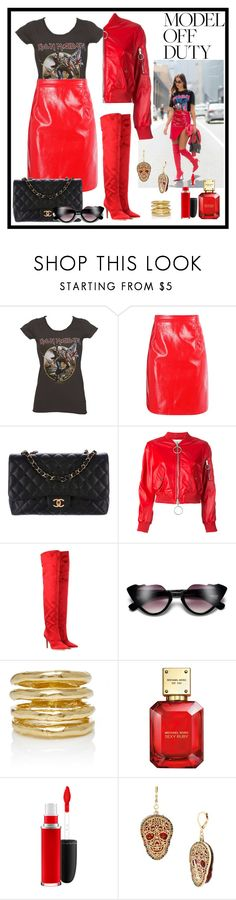"""Model off duty"" by krista-zou on Polyvore featuring Boohoo, Chanel, Off-White, Gianvito Rossi, Wasson, Michael Kors, MAC Cosmetics and Betsey Johnson"