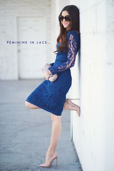 Pink Peonies such a beautiful blue lace dress ! Modest Dresses, Cute Dresses, Beautiful Dresses, Gorgeous Dress, Glamour, Looks Style, My Style, Moderne Outfits, Fashion Vestidos
