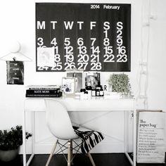black and white interior style for home office | stendig calendar