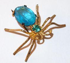 VINTAGE CZECH CZECHO CZECHOSLOVAKIA AQUA BLUE INSECT BUG RHINESTONE BROOCH PIN