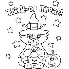 free halloween kitty costume printabel coloring pages printable coloring pages for kids trick or treat cat - Halloween Color Pages