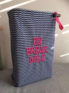 Shoe Bag for yoga or your gym bag. UNBREAKABLE Fitness Monogram | Collar-Rap - Bags & Purses on ArtFire