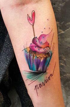 Simona Blanar Watercolor cupcake tattoo