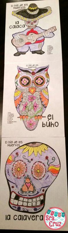Día de los Muertos Spanish color by number pages