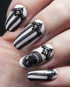 nail art manucure baroque camee create your own bundle monster stripes beetle juice gothic lace dentelle etude house stickers ongles blanc elf swatch noir