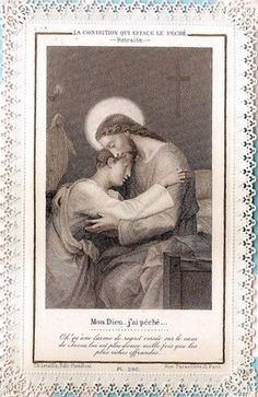 Antique French Lace Holy Card ... Jesus Forgives Sins