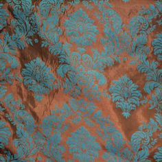 Brown / Jade Damask Flocked Taffeta Fabric 58 inches width sold by the yard #NewstarFabric