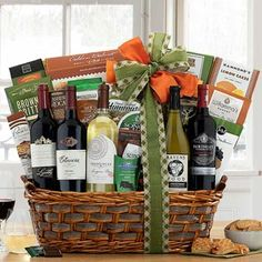 Wine Gift Baskets - Corporate Snack Wine Basket Wine Gift Baskets, Business Thank You, California Wine, Appreciation Gifts, Wine Gifts, Thank You Gifts, Wine Rack, Wines, Goodies