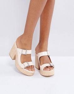 Get this Asos s open shoes now! Click for more details. Worldwide shipping.  ASOS TAKE A RIDE Chunky Mules - Beige  Mules by ASOS Collection fbb524eccaef