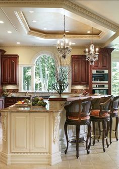 Love this kitchen! Island, bar stools, & ceiling ~ Whole House Renovation - traditional - kitchen - new york - by Creative Design Construction, Inc. Luxury Kitchens, Home Kitchens, Small Kitchens, Dream Kitchens, Kitchen New York, Sweet Home, Cuisines Design, Beautiful Kitchens, Beautiful Homes