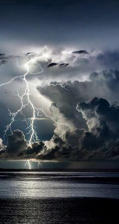 Divine Light by Edin Dzeko, Thunder storm, clouds, light beams, lightning… Beautiful Sky, Beautiful Landscapes, Beautiful World, Beautiful Wallpaper, Beautiful Things, Wild Weather, Sunny Weather, Thunder And Lightning, Lightning Storms