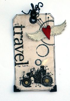 Will Travel For Love TAG - Scrapbook.com - Great tag. #scrapbooking #tag #fancypantsdesigns #rangerink