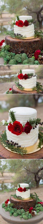 Rustic Winter Wedding Cake | A Princess Inspired Blog | Woodland Inspired Wedding | Rachel Baker Photography