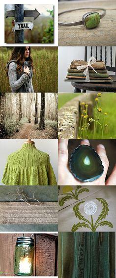 green woodland color board