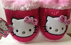 Hello Kitty Ladies Slippers House Shoes Scuffs Pink Sequins LARGE 9-10