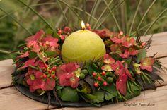 couronne d'hydrangea , un joli centre de table pour les tables d'automne