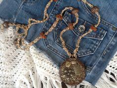 MaCRaMe ClaY HiPPie womens necklace/ Flower Child/ by Ivanwerks, $48.00