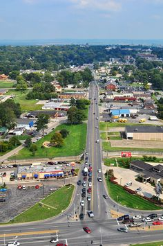Broadway in Cape Girardeau from a bird's eye view; photo credited to CityofCape on Flickr.  Cape is so green!  #visitcape