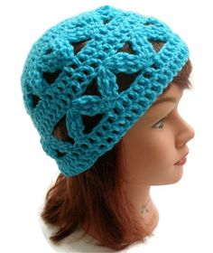 Crochet Geometric Beanie Hat in Turquoise Small by AddSomeStitches, $22.00