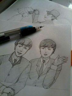 Drawing Cartoon Characters, Cartoon Drawings, Beatles Art, The Beatles, Fanart, The Fab Four, Ringo Starr, George Harrison, Paul Mccartney