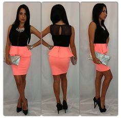 Cute coral skirt with an open back blouse!