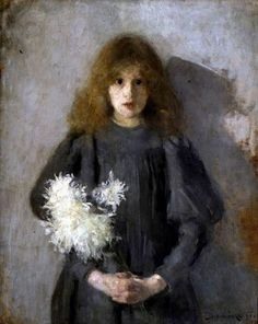 Olga Boznańska - Girl with Chrysanthemums, 1894